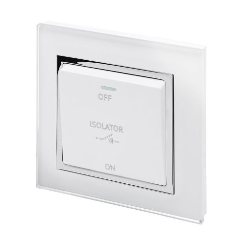 RetroTouch Triple Pole 10A Fan Isolator Switch White Glass CT 01731